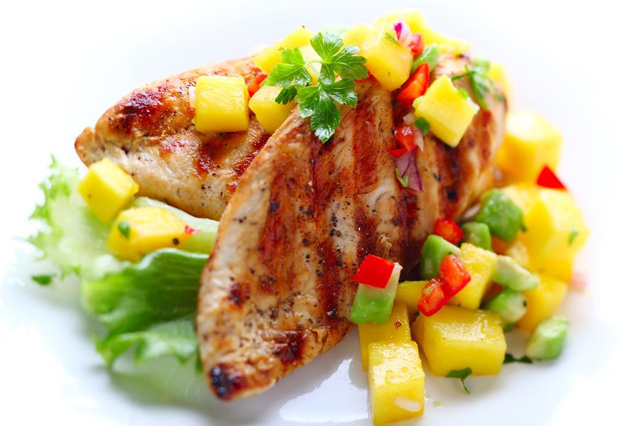 Grilled chicken breast  with fresh mango salsa